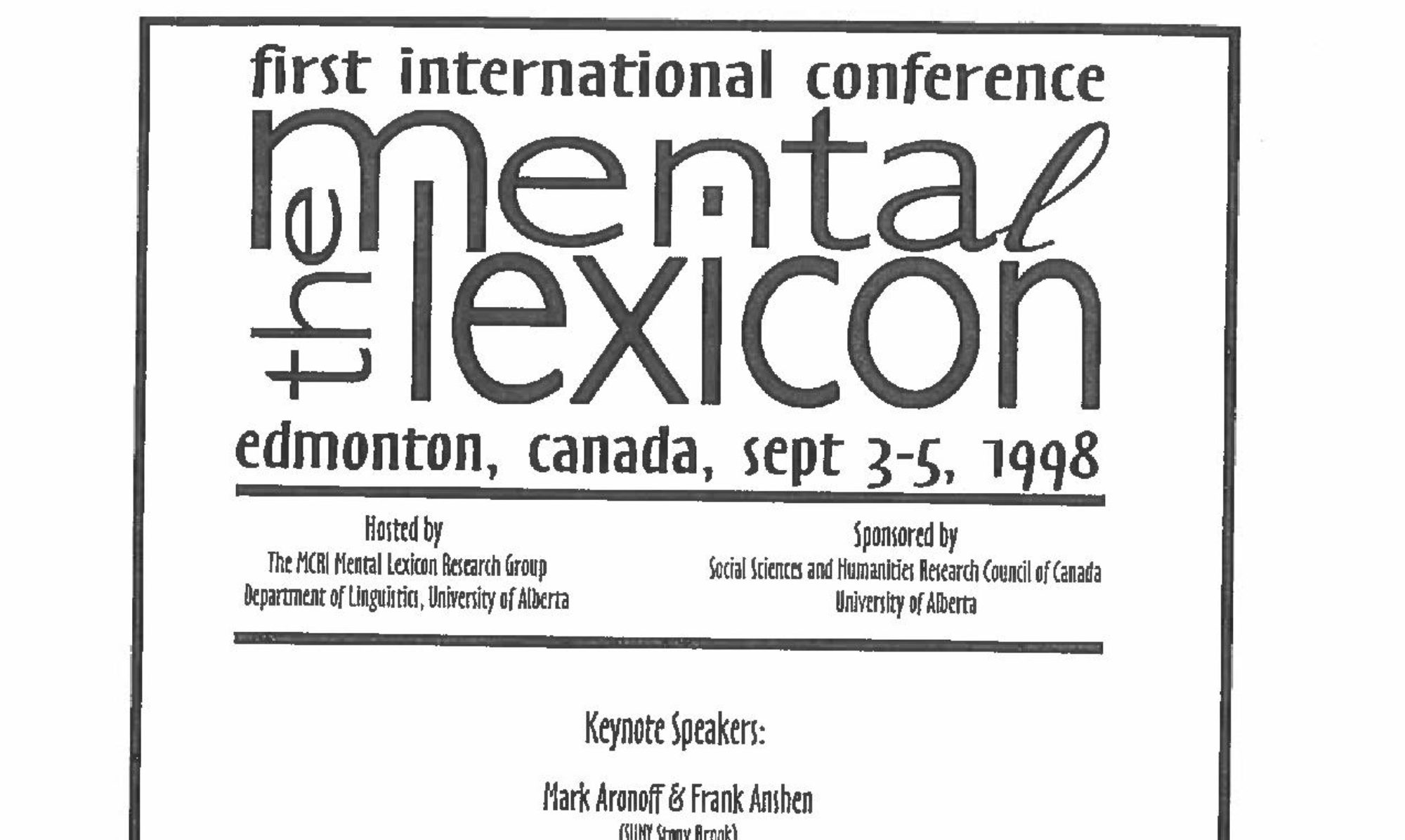 International Conference on the Mental Lexicon 2022
